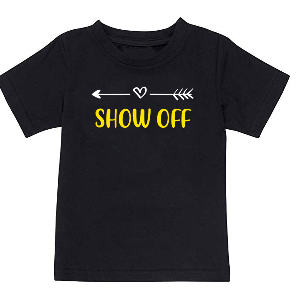 Sprinklecart Born First Show Off Printed Cotton T Shirt (Black)