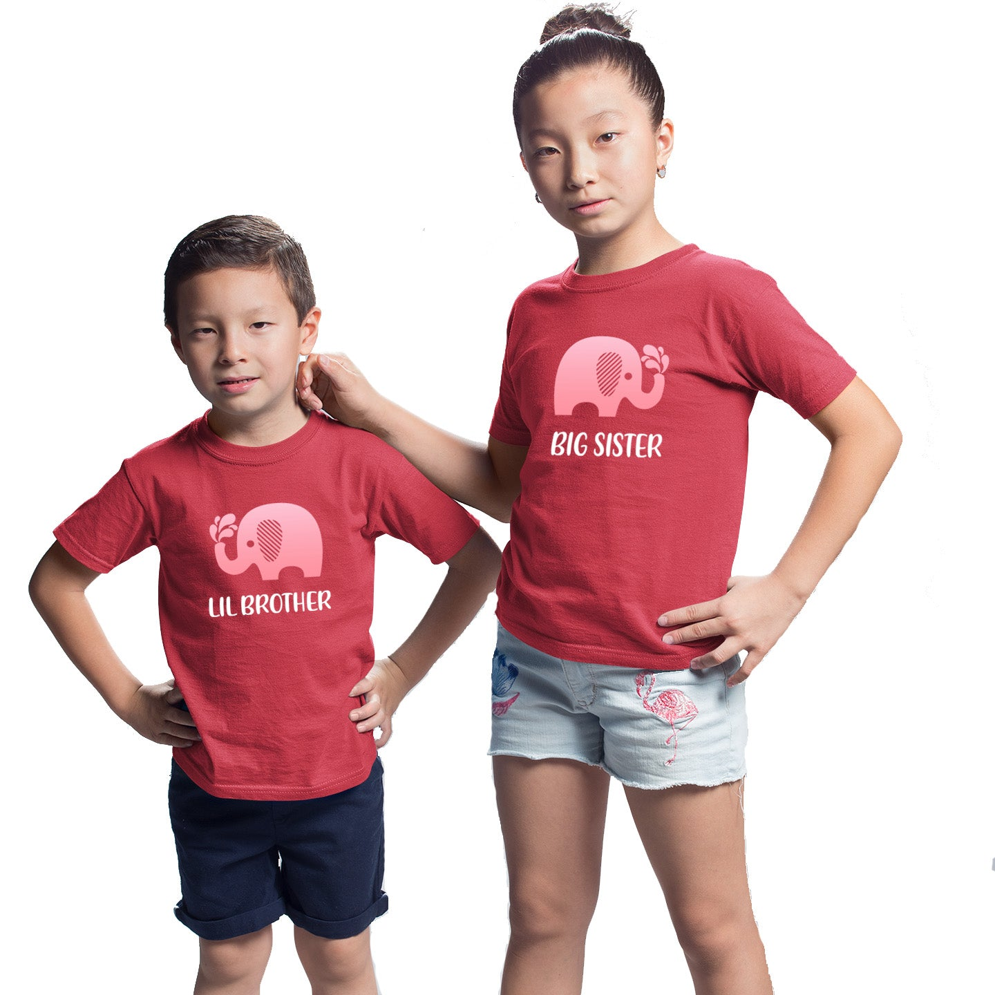 Sprinklecart Big Brother Lil Brother Cute Elephant Matching Cotton Kids T Shirt Combo (Red)