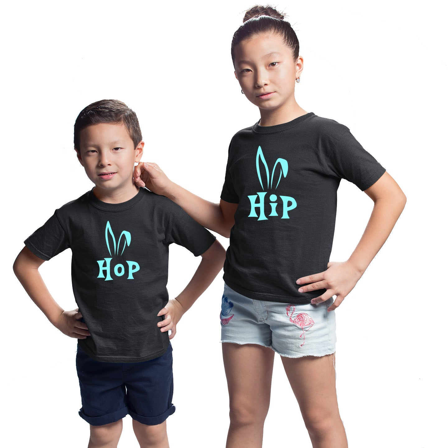 Sprinklecart Bunny Ears Hip Hop Cotton Kids T Shirt Combo for Sibling (Black)