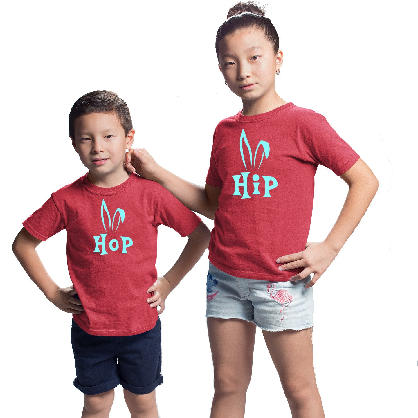 Sprinklecart Bunny Ears Hip Hop Cotton Kids T Shirt Combo for Sibling (Red)