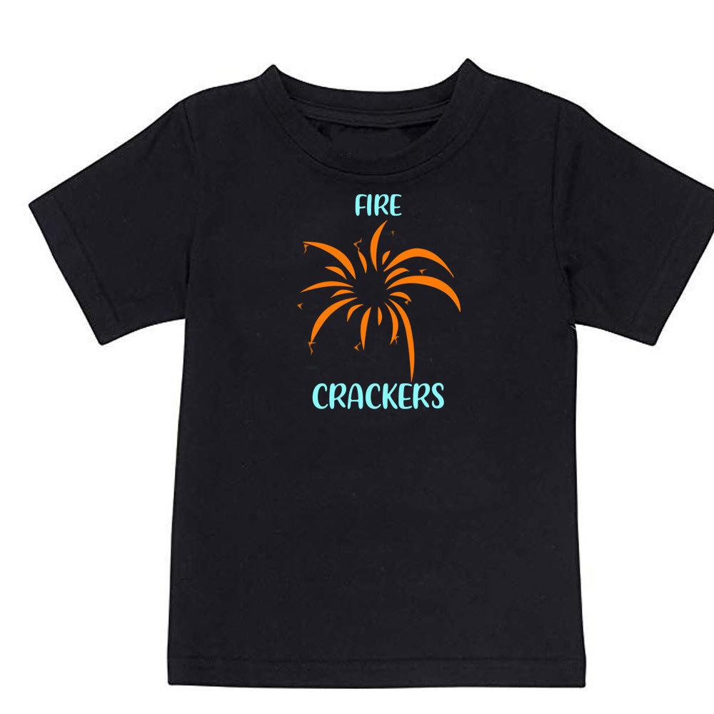 Sprinklecart Kids Matching Fire Crackers Cotton T Shirt Set for Sibling (Black)