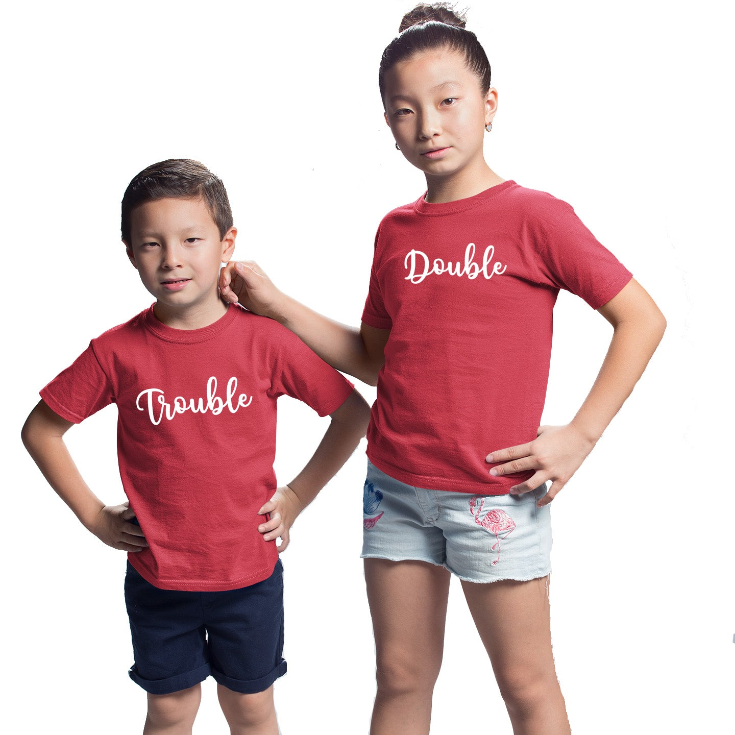 Sprinklecart Double Trouble Matching Cotton Kids T Shirt (Red)