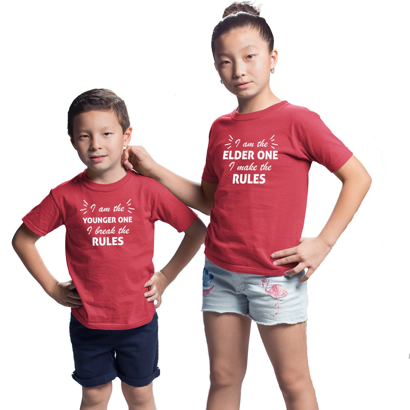 Sprinklecart I am The Elder One I Make The Rule I Am The Younger One I Break The Rules Printed Kids Cotton T Shirts (Red)