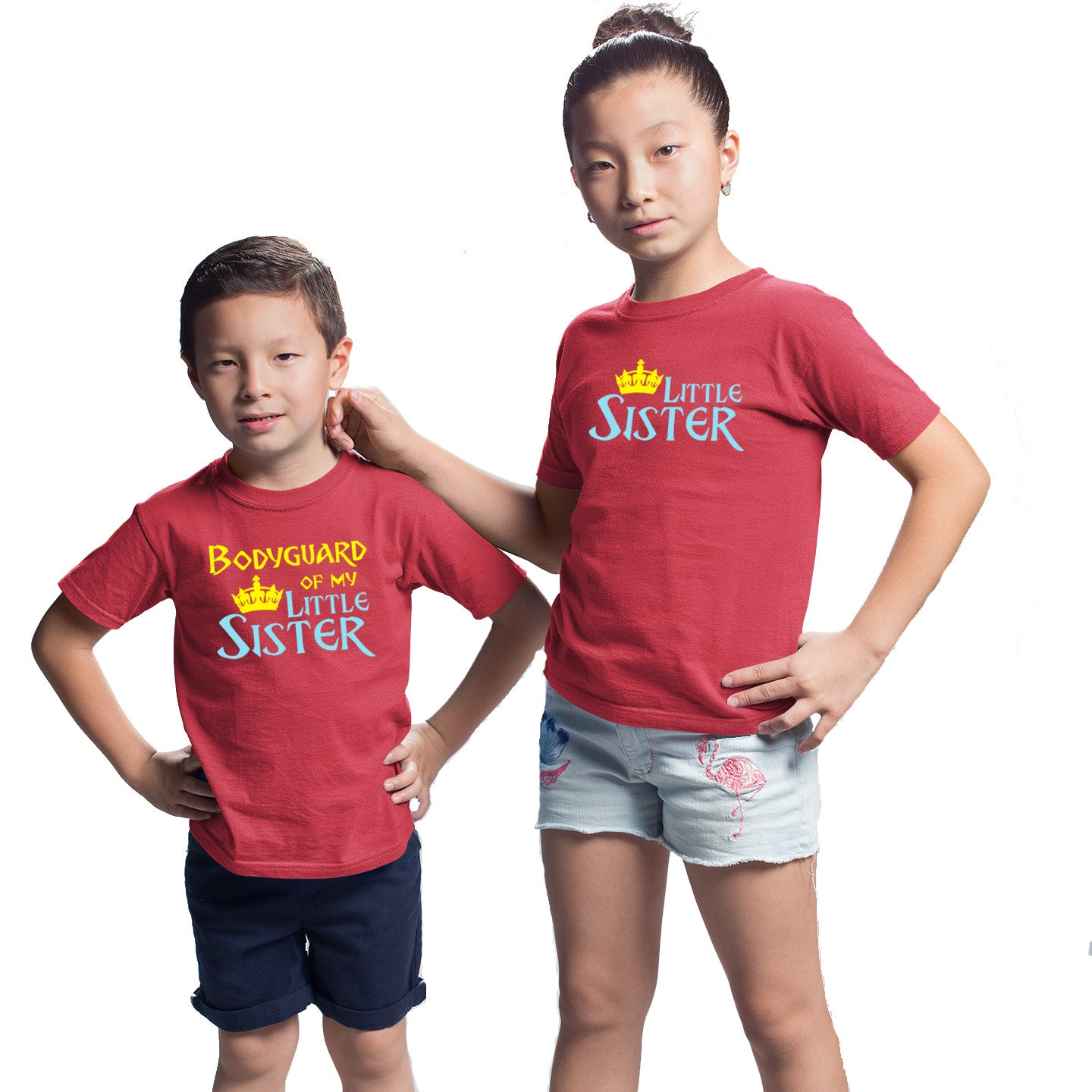 Sprinklecart Matching Little Sister Bodyguard of My Little Sister Printed Cotton T Shirt Combo for Kids (Red)