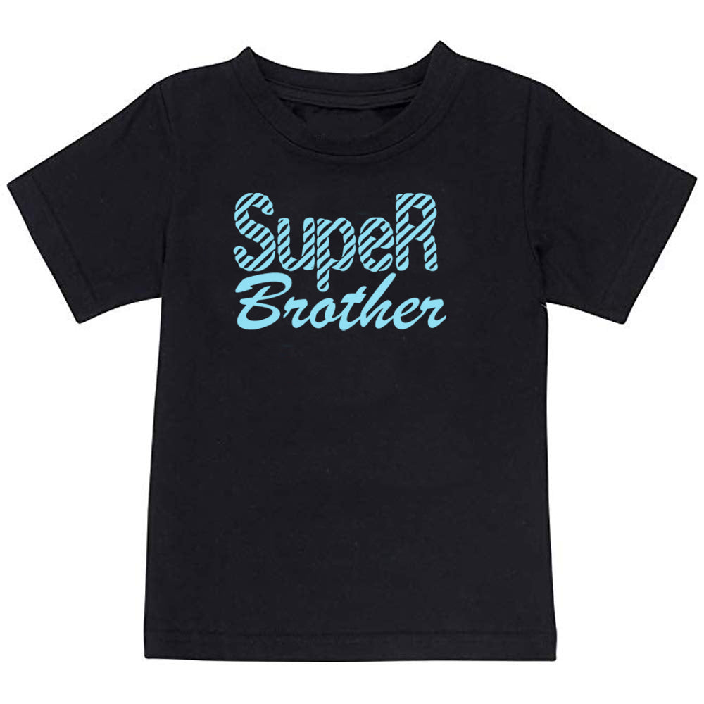 Sprinklecart Super Sister Super Brother Kids Cotton T Shirt Set for Siblings (Black)