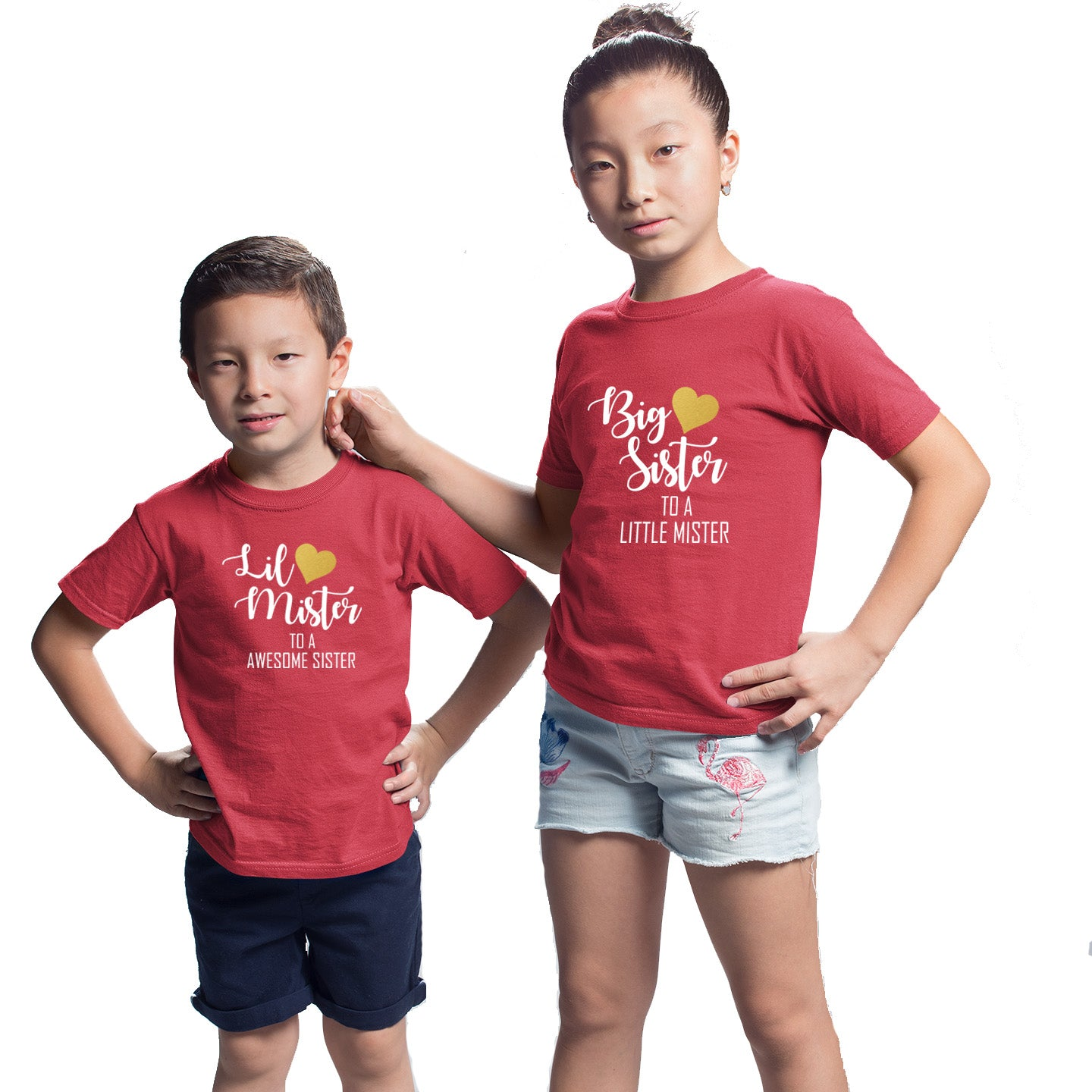Sprinklecart Big Sister to A Little Mister Little Mister to A Awesome Sister Matching Kids Cotton T Shirts (Red)