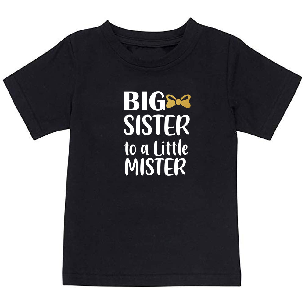 Sprinklecart Little Mister Big Sister to A Little Mister Printed Matching Cotton T Shirt Combo for Kids (Black)