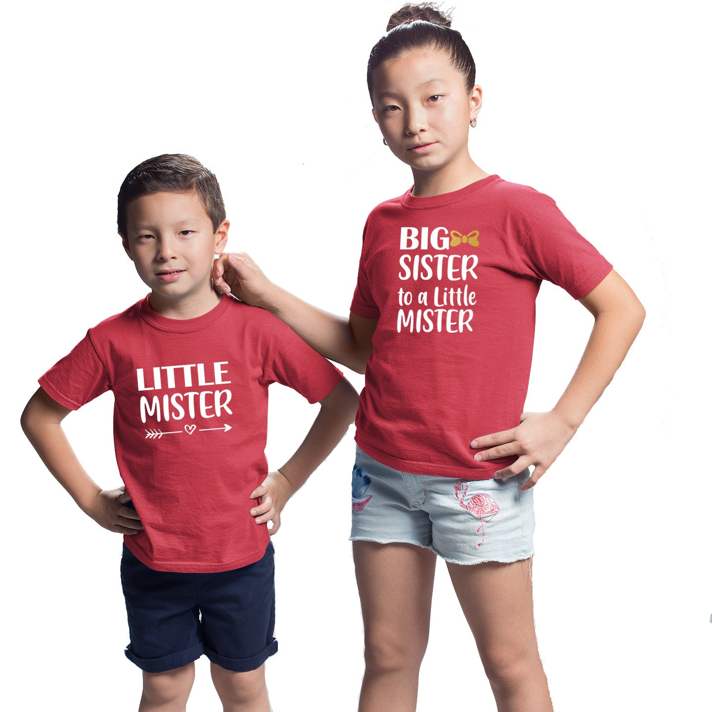 Sprinklecart Little Mister Big Sister to A Little Mister Printed Matching Cotton T Shirt Combo for Kids (Red)