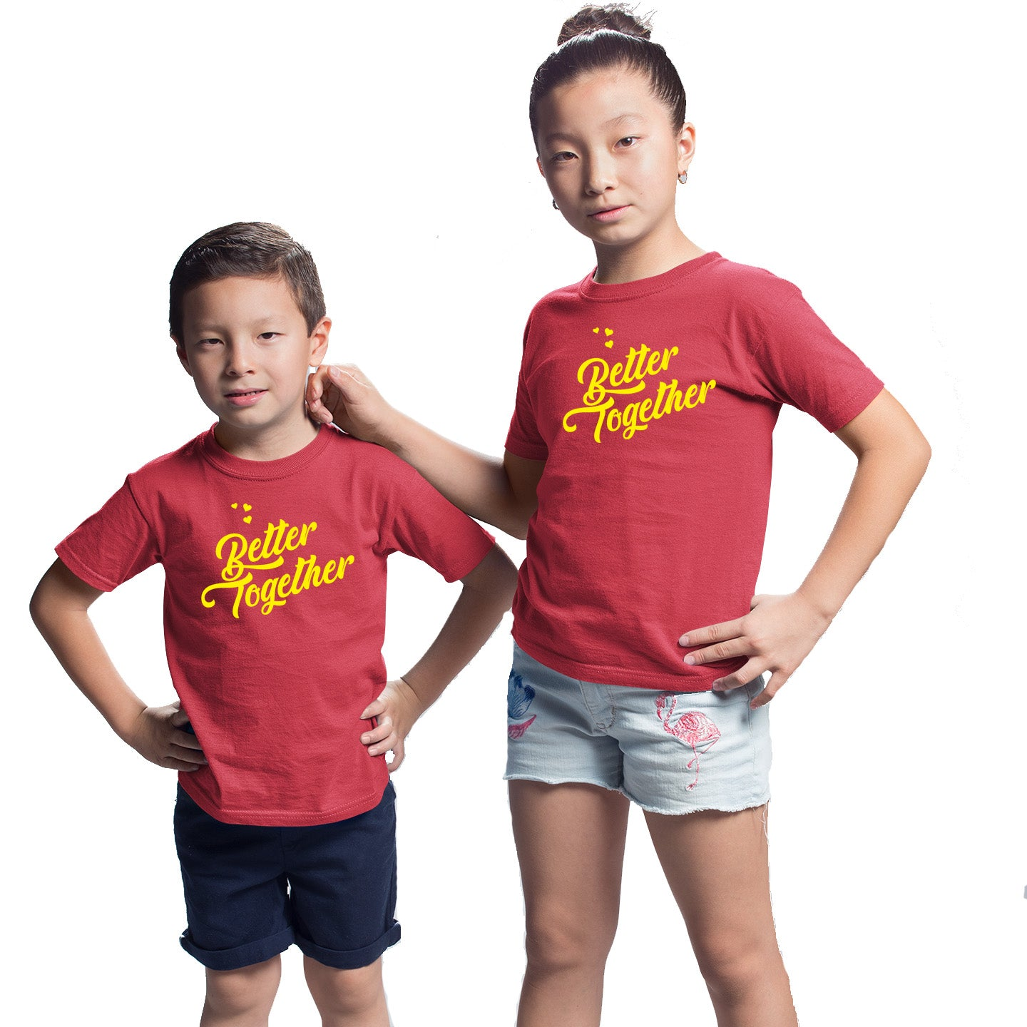 Sprinklecart Matching Matching Better Together Printed Cotton Siblings T Shirts for Kids (Red)