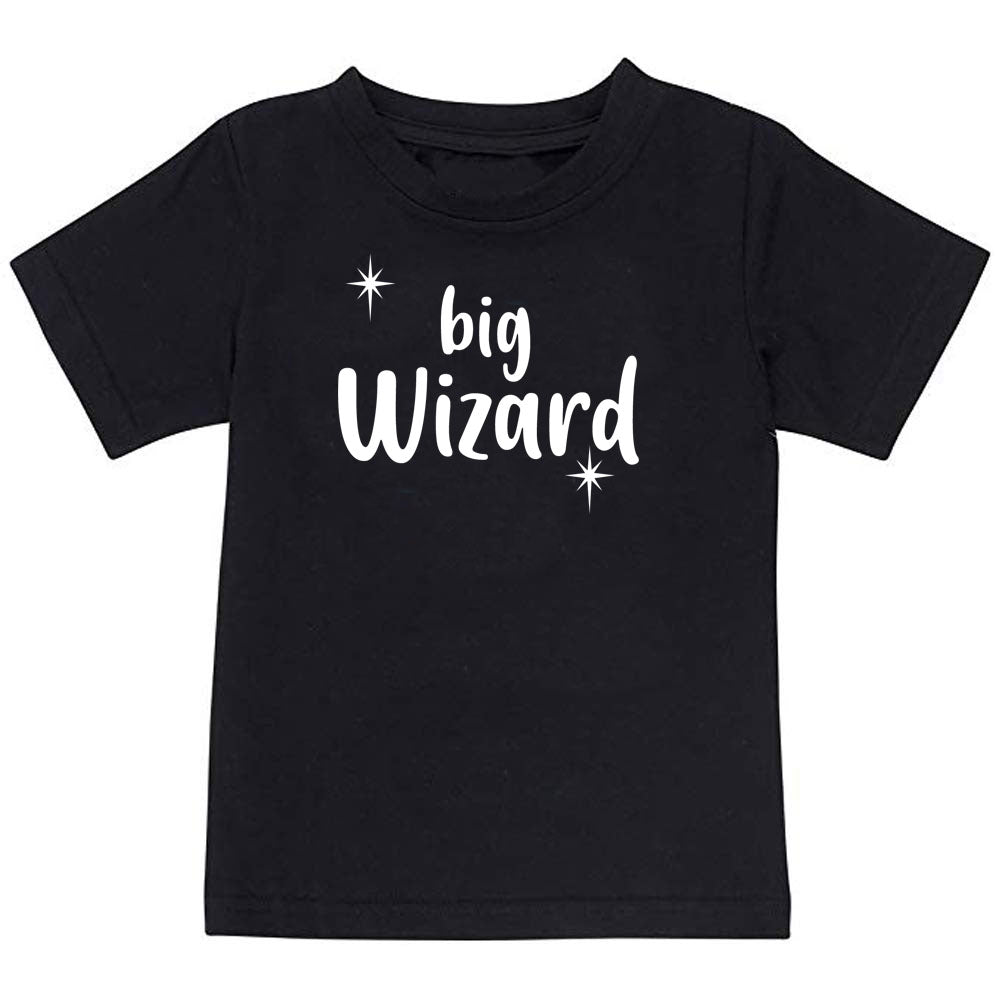 Sprinklecart Big Wizard Little Wizard Printed Cotton Kids T Shirt Combo for Siblings (Black)