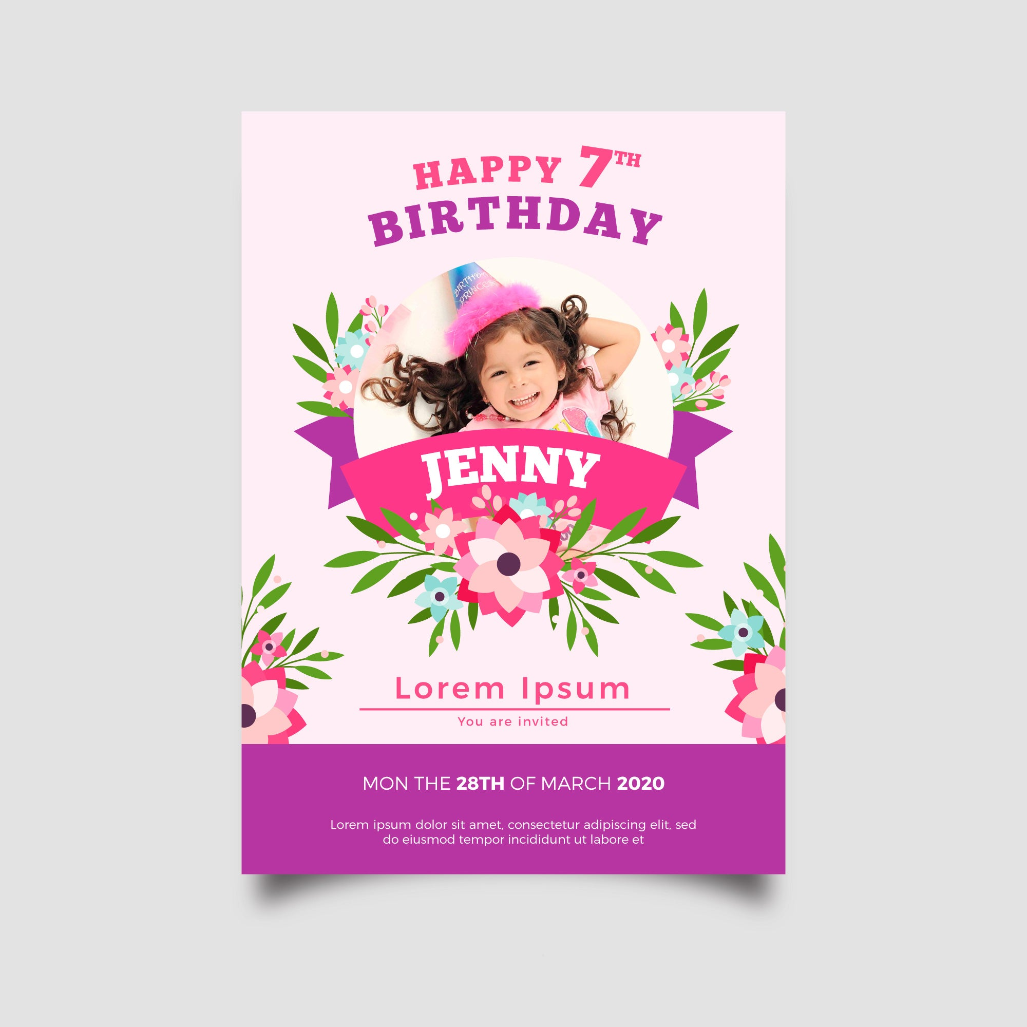 Beautiful Flower Printed Birthday Invitation Card For Kids Set Of 25 Pcs