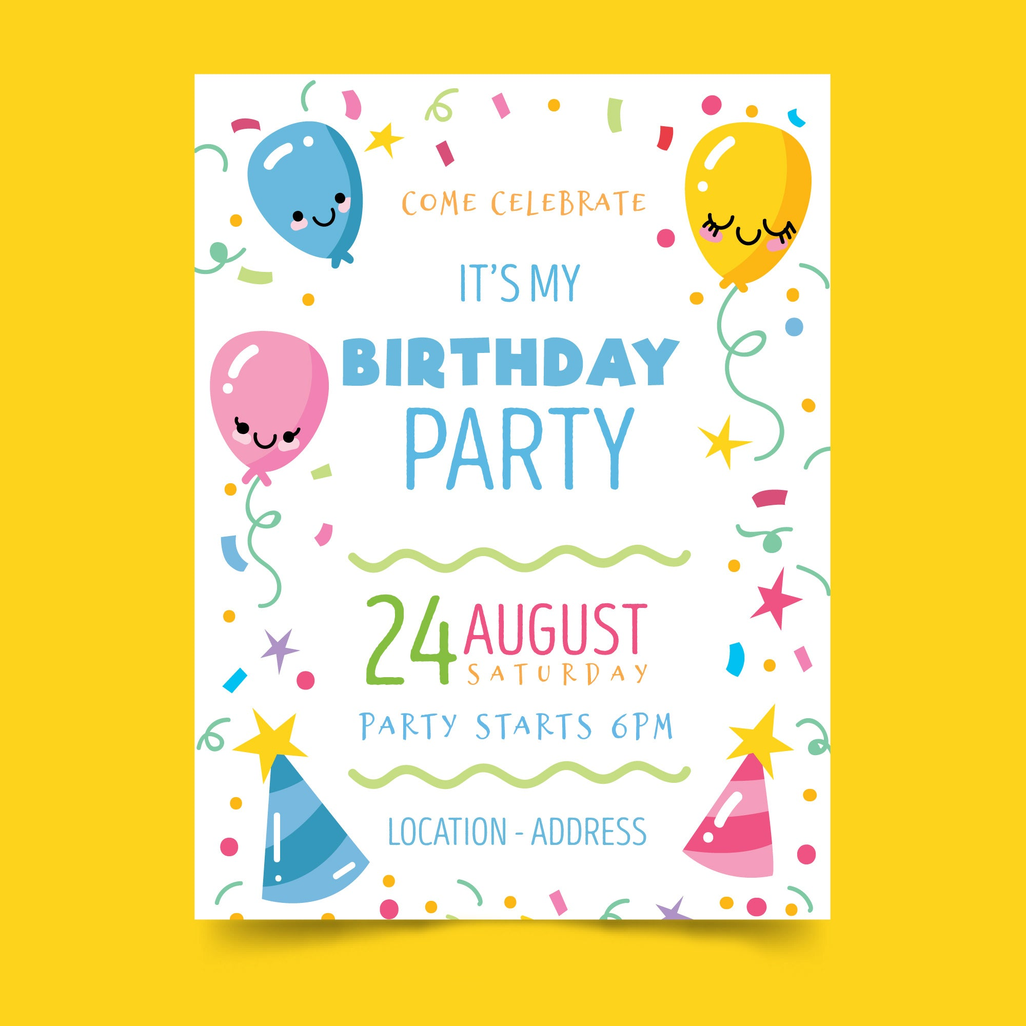 Come Celebrate It S My Birthday Party Theme Invitation Card For Kids Set Of 25 Pcs