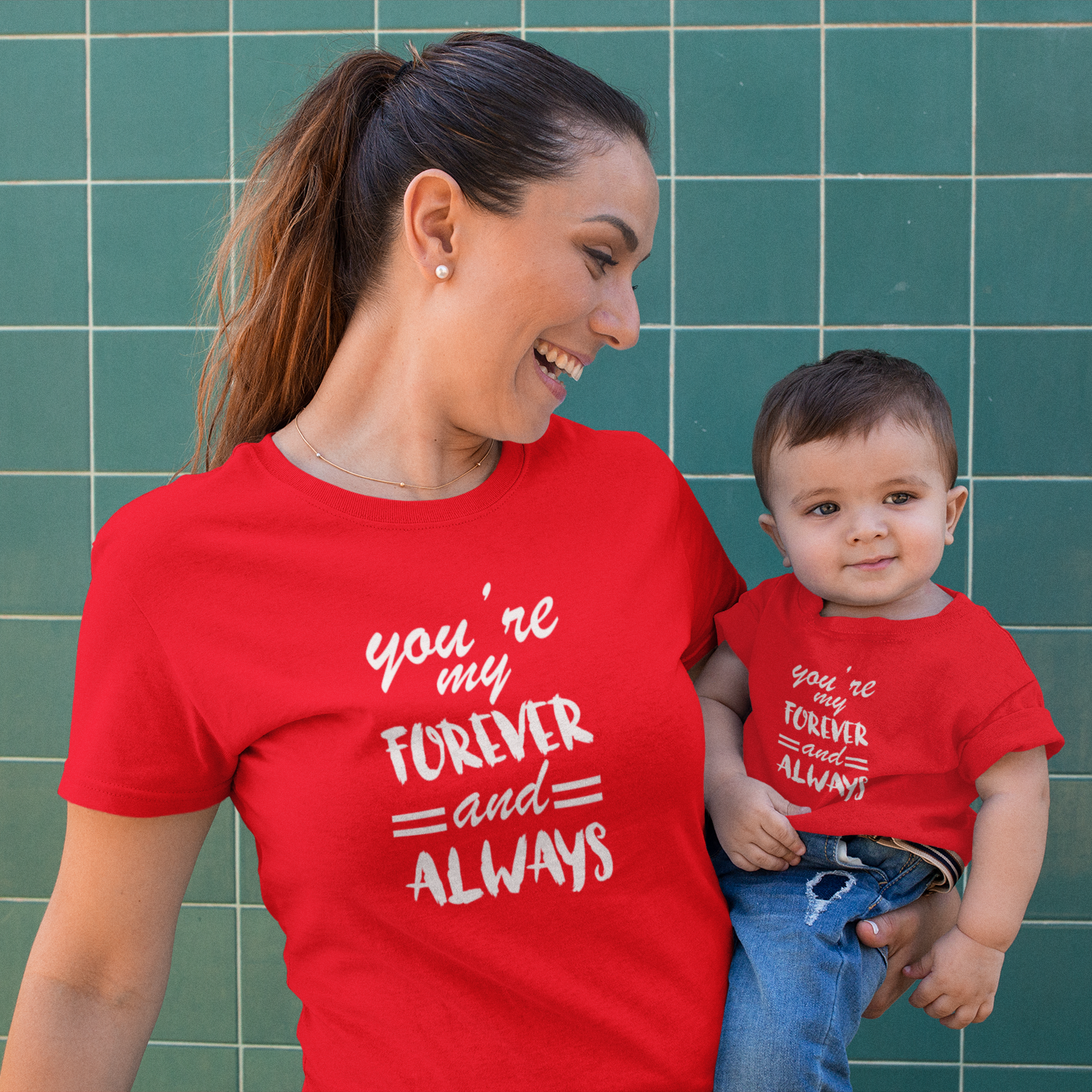 Sprinklecart Cotton T-Shirt Set for Mom and Son | You're My Forever and Always Printed Matching T Shirt (Red)