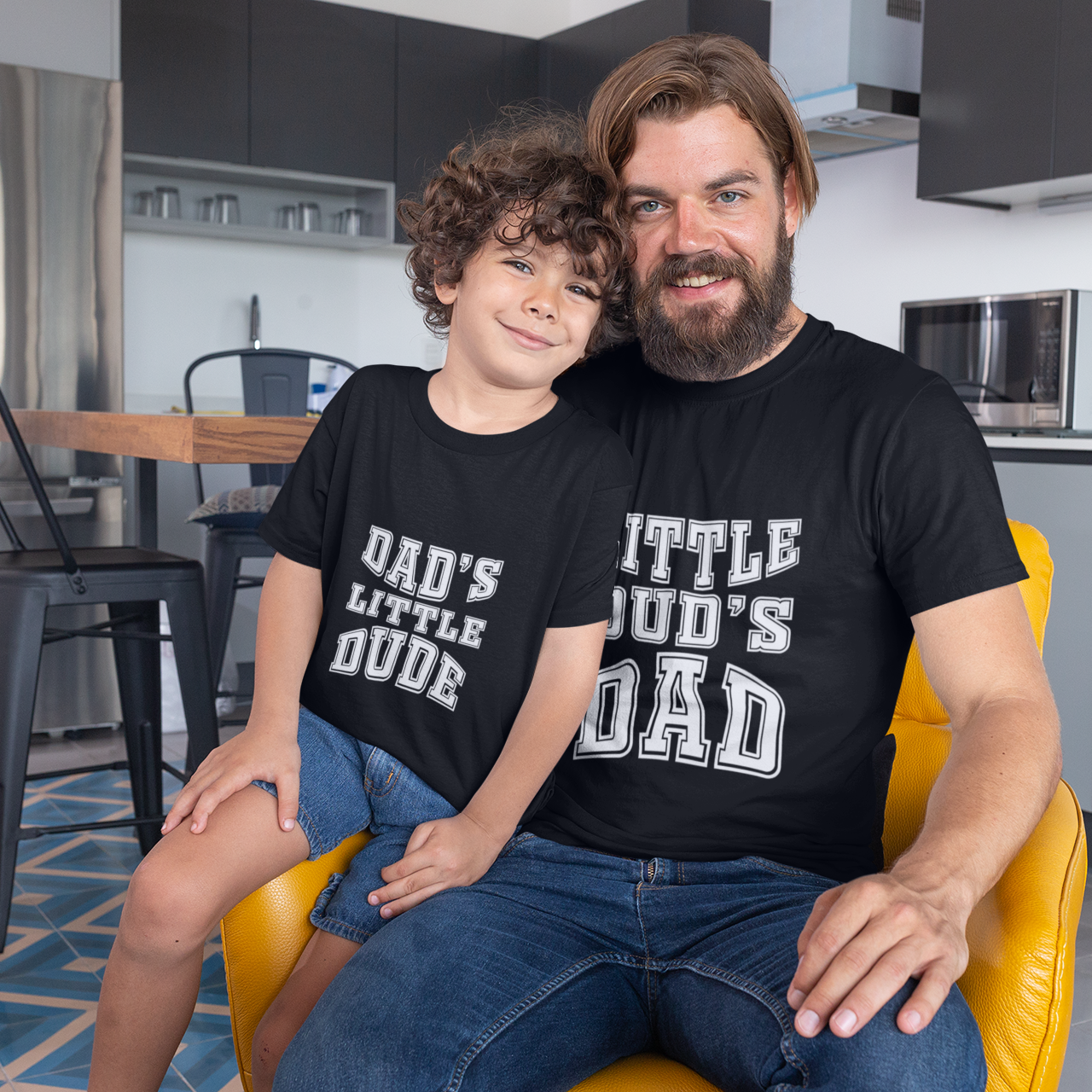 Sprinklecart Dad's Little Dude & Little Dud's Dad T Shirt Set for Dad and Son (Black)