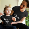 Sprinklecart Mama, Mama's Mini Printed Matching T Shirt | Cotton T-Shirt Set for Mom and Daughter (Black)