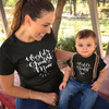 Sprinklecart World's Greatest Son World's Gtreatest Mom Matching Black Cotton T Shirt