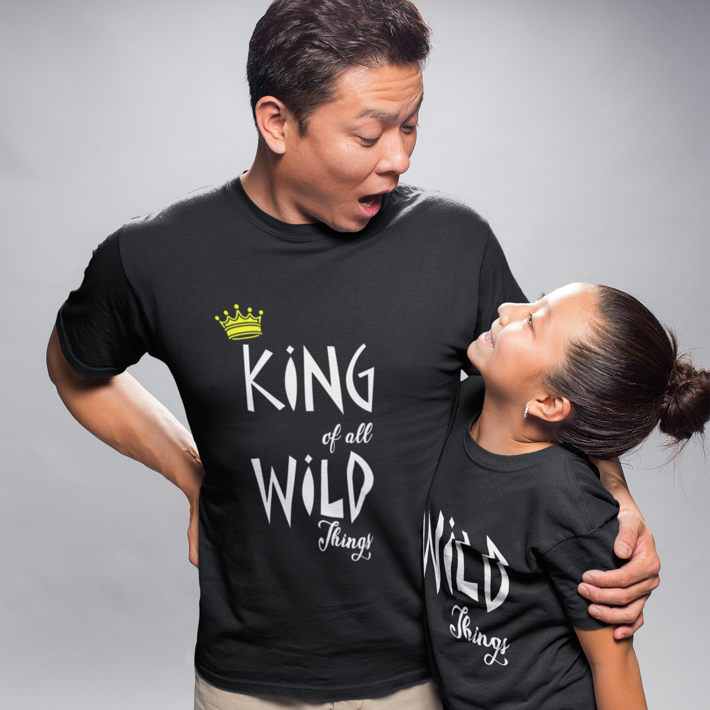 Sprinklecart King of All Wild Things & Wild Things | Dad and Daughter Matching Tees (Black)