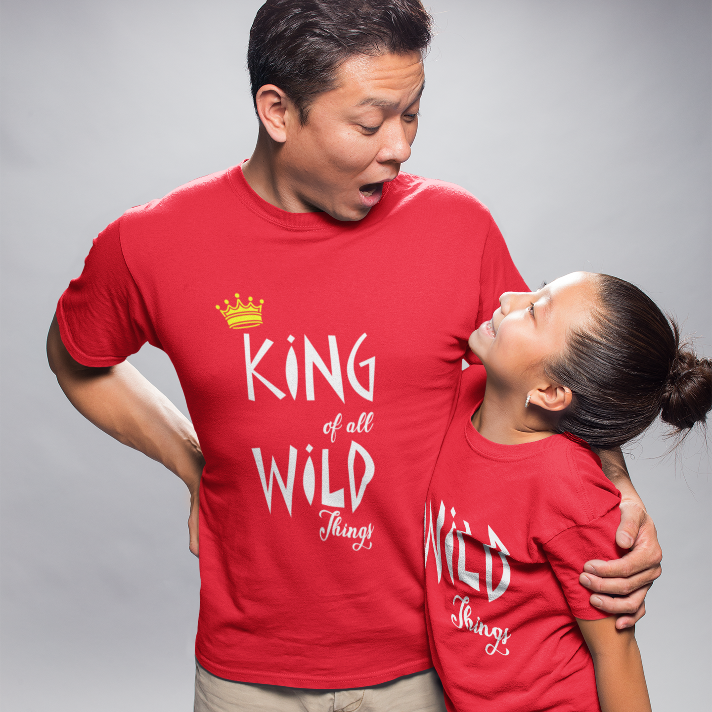 Sprinklecart King of All Wild Things & Wild Things Dad and Daughter Matching T Shirt (Red)