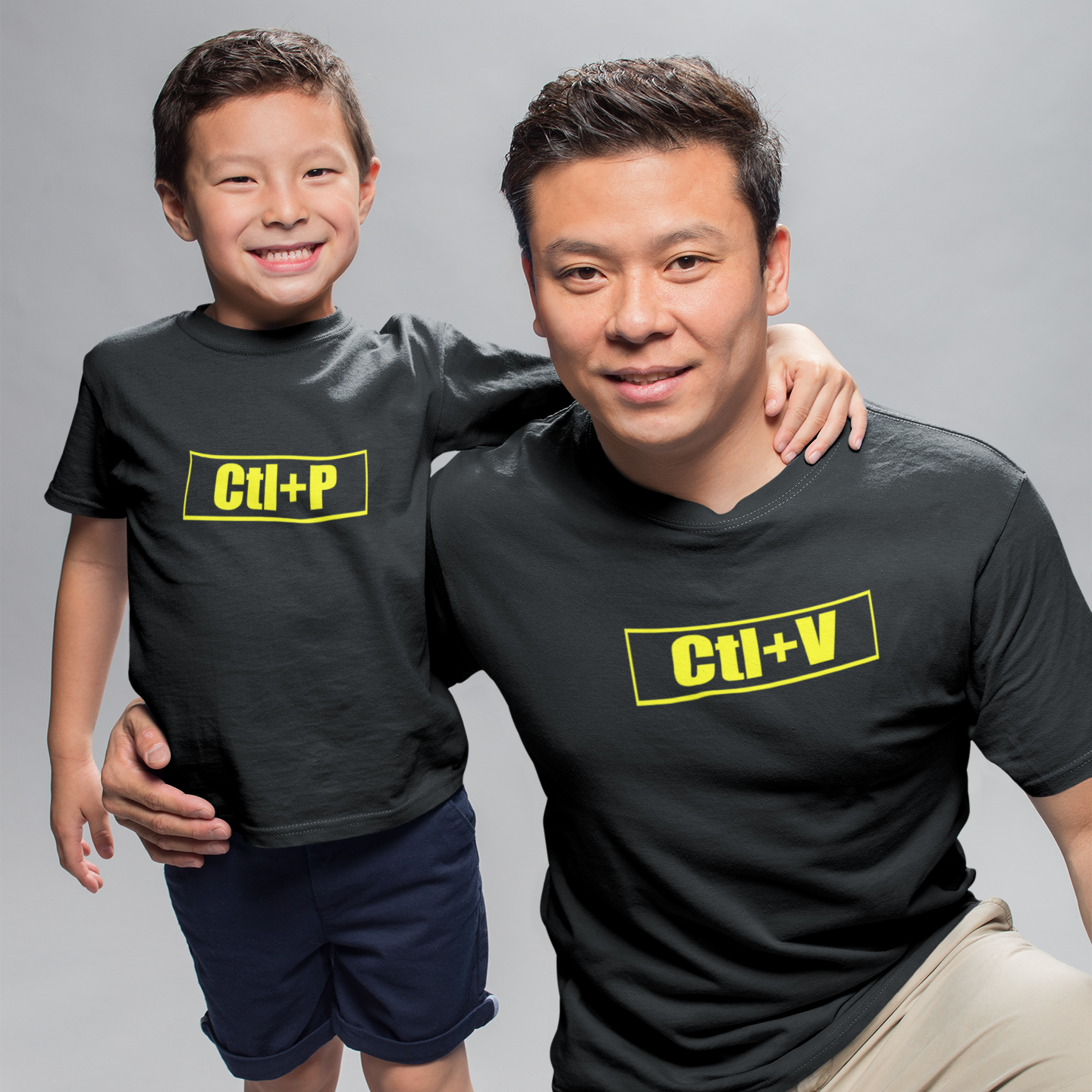 Sprinklecart Ctl+P Ctl+V Printed Matching T Shirt for Father and Son | Black Cotton T Shirt Set