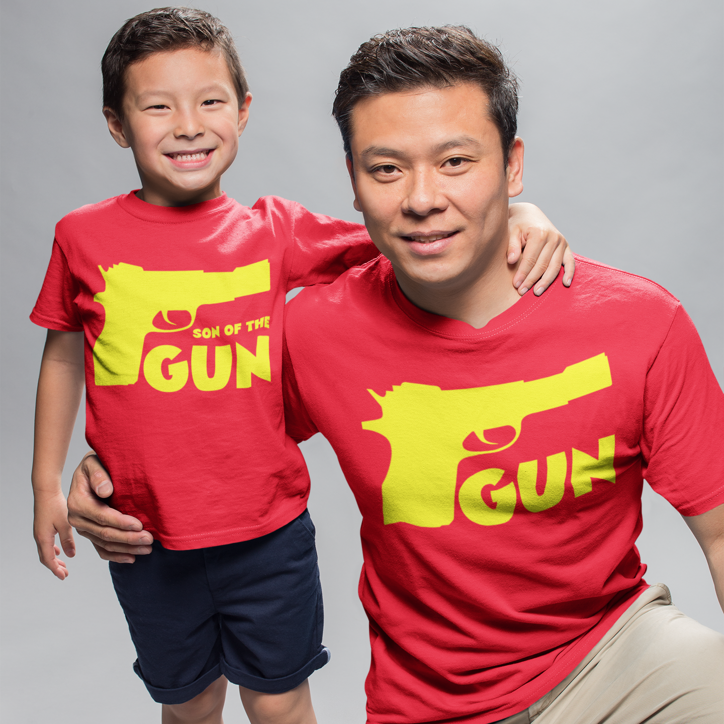 Sprinklecart Gun Son of The Gun Printed Matching T Shirt | Red Cotton T Shirt for Dad and Son