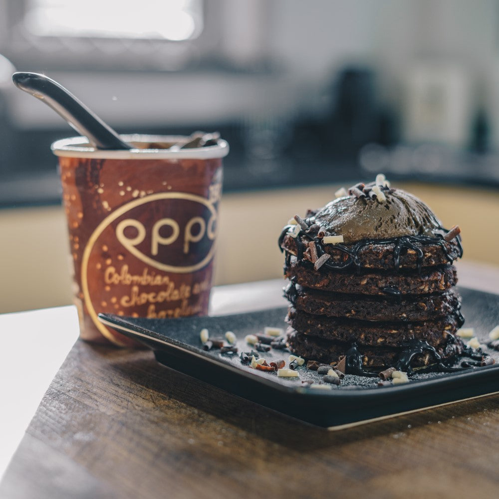 Chocolate & Banana Pancakes With Scoops Of Oppo Ice Cream