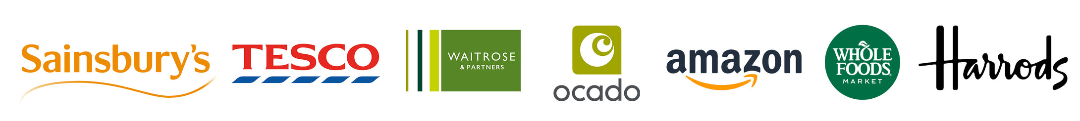 Stockist Logos Including Sainsbury's, Tesco, Waitrose & Partners, Ocado, Amazon, Whole Foods & Harrods