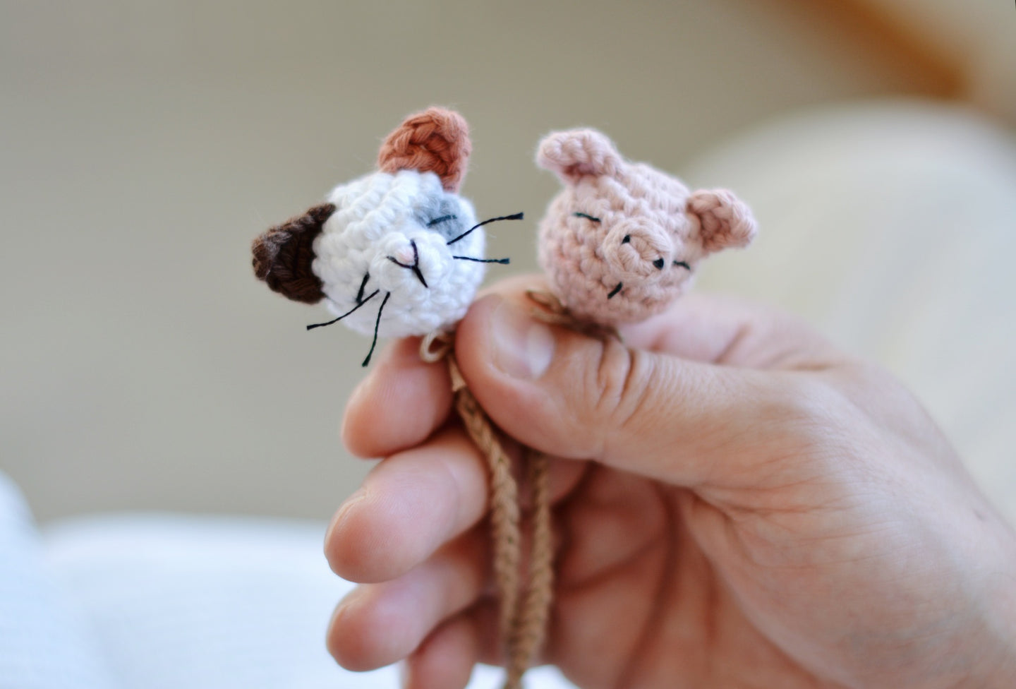 Cat and Pig Bookmark Easy Crochet Pattern PDF - Firefly Crochet