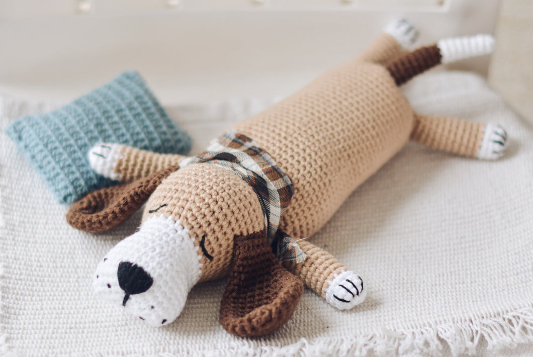 Easy Sleepy Dog Crochet Pattern, Puppy Amigurumi Dog Tutorial PDF - Firefly Crochet