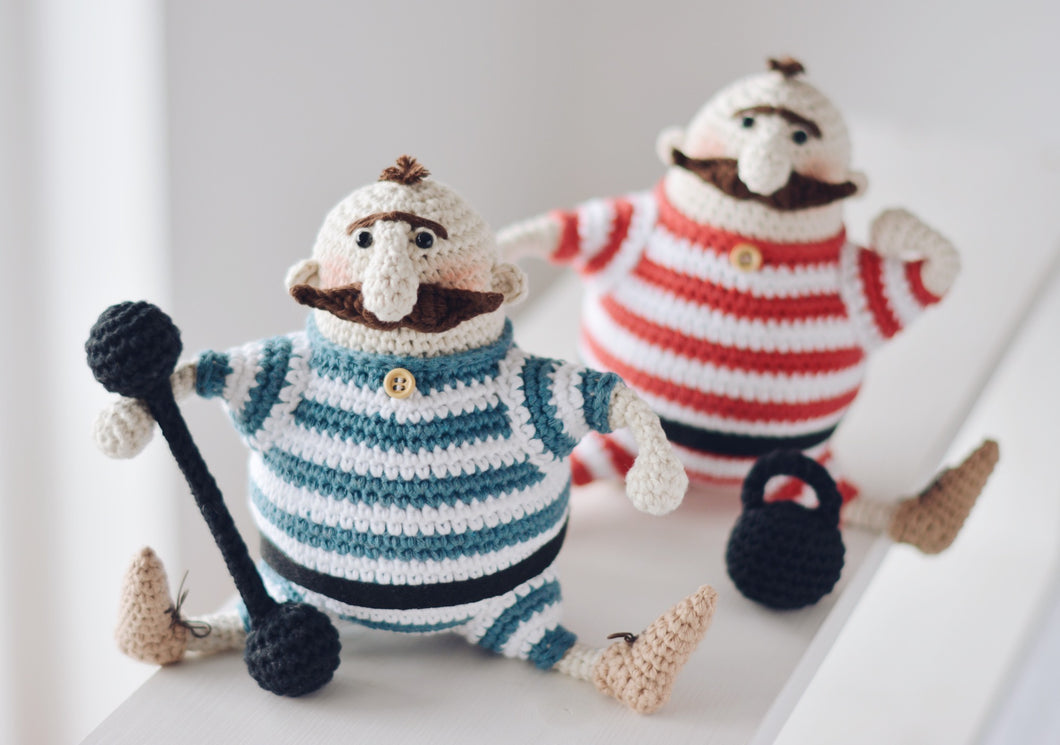Amigurumi Doll Crochet Pattern for Two Strongmen - Firefly Crochet