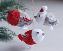 Load image into Gallery viewer, Crochet Pattern for Three Christmas Bird Ornaments, Crochet Mobile for Baby - Firefly Crochet
