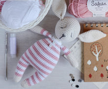 Load image into Gallery viewer, Rosy the sleepy bunny in pajamas - Crochet Pattern - Firefly Crochet