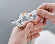 Load image into Gallery viewer, Bookmark rabbit crochet pattern PDF great idea for using up scrap yarn - Firefly Crochet