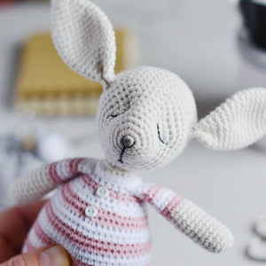 Rosy the sleepy bunny in pajamas - Crochet Pattern - Firefly Crochet