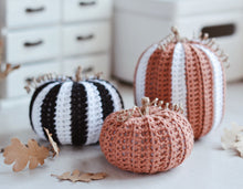 Load image into Gallery viewer, Crochet Pattern for Three Halloween Pumpkins, Black & White Big Pumpkins - Firefly Crochet