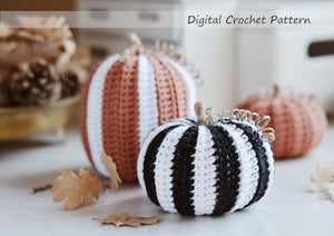 Crochet Pattern for Three Halloween Pumpkins, Black & White Big Pumpkins - Firefly Crochet