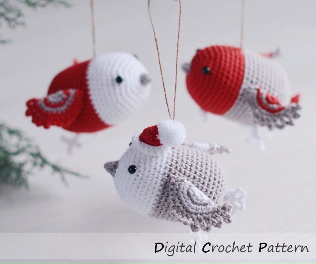 Crochet Pattern for Three Christmas Bird Ornaments, Crochet Mobile for Baby - Firefly Crochet