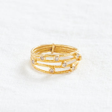 18k Layered Diamond Ring-Indian Gold-Marisa Mason Jewelry