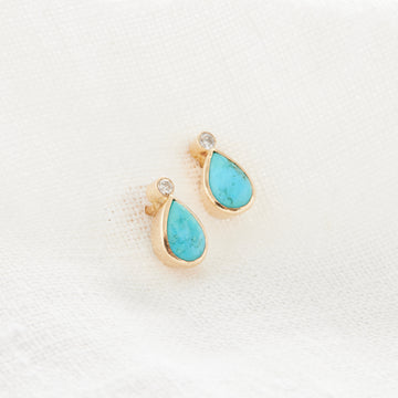 Turquoise and Diamond Teardrop Studs-Indian Gold-Marisa Mason Jewelry