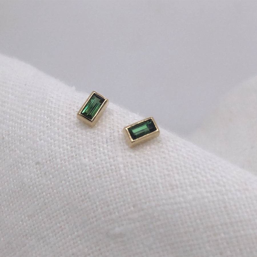 Green Tourmaline Baguette Studs-Gold Essentials-Green Tourmaline-Marisa Mason Jewelry