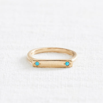 Double Turquoise Message Ring-Marisa Mason Jewelry-Marisa Mason Jewelry