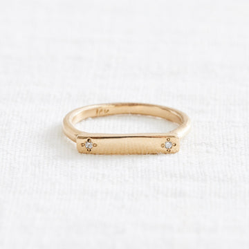Double Diamond Message Ring-Marisa Mason Jewelry-Marisa Mason Jewelry