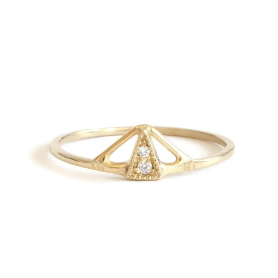 Small Pyramid Diamond Ring-Lio & Linn-Marisa Mason Jewelry