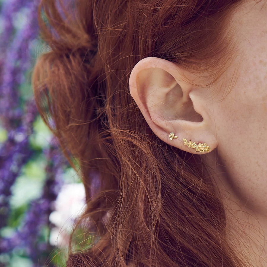 Floral Curve Single Stud Earring-Alex Monroe-Marisa Mason Jewelry