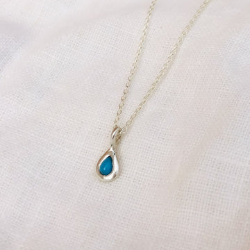 Droplet Necklace - Silver with Turquoise
