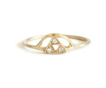 Triangle Arc Diamond Ring