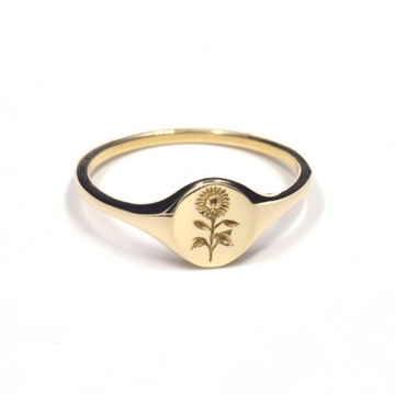 Mini Sunflower Signet Ring