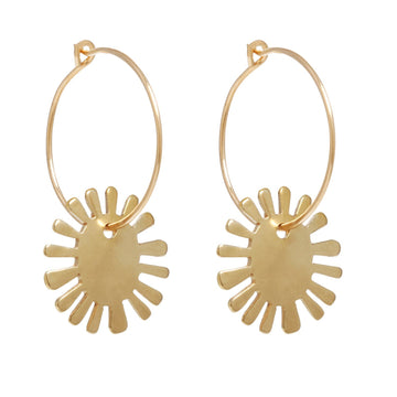 BIG SUN HOOPS Earrings Brass on gold fill,Sterling silver Marisa Mason Jewelry