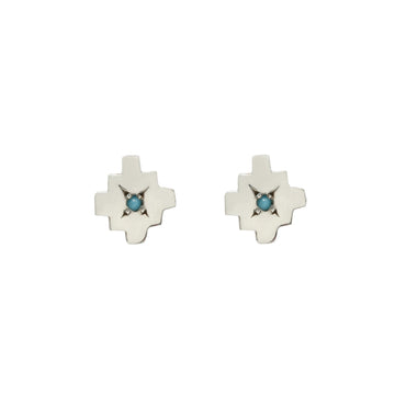 MAYAN STUDS Earrings Sterling Silver, Sterling Silver with turquoise points, Gold,  Gold with Diamonds, Gold with Turquoise Marisa Mason Jewelry