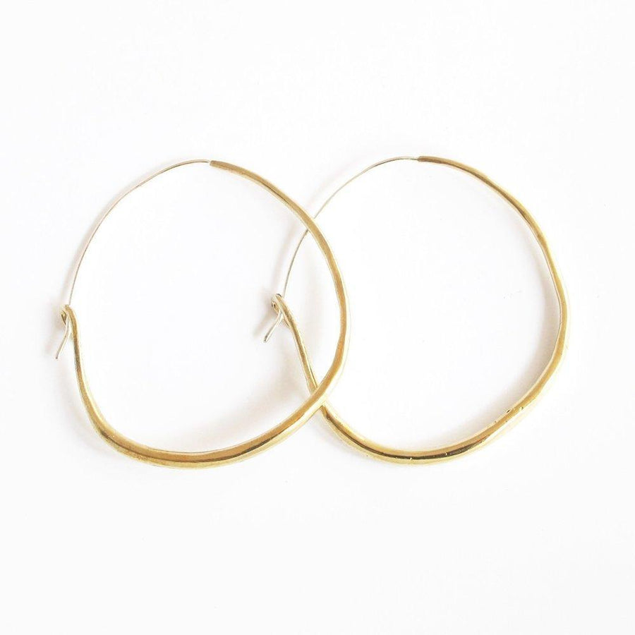 NATURAL HOOPS Large Earrings Brass, Sterling Silver Marisa Mason Jewelry