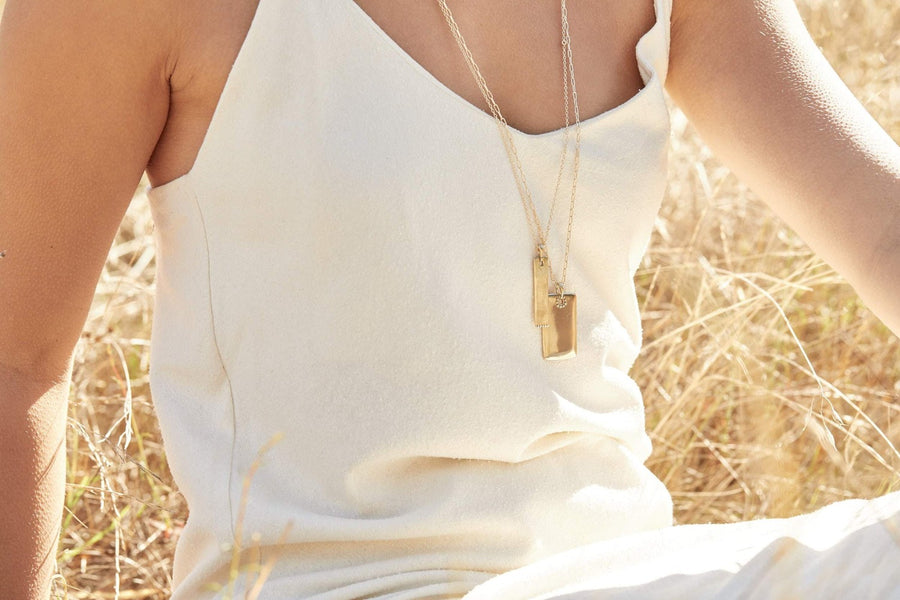 TABA Necklaces Brass on gold fill chain,Sterling Silver on Silver Chain Marisa Mason Jewelry